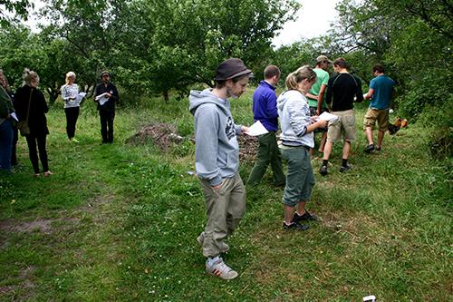 Deltagarna observerar platsen utifrån en checklista.