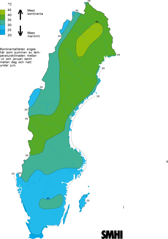 Denna karta visar graden av kontinentalitet i olika delar av Sverige. Källa: http://www.smhi.se/polopoly_fs/1.4181.1398236877!/image/p29.png_gen/derivatives/Original_1004px/p29.png