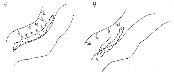 Kall luft rinner precis som vatten tvärs över konturlinjerna i landskapet. Därför är det viktigt att placera lähäckar och andra vindskyddsstrukturer lätt på tvären mot konturen (b), så att det inte bildas frostfickor bakom vindskyddet (a).