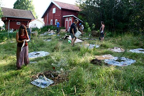 Med input från allas sinnen valdes en annan plats för den blivande skogsträdgården än vad vi kursledare hade gjort. Platsen syns från ett sovrumsfönster (ett köksfönster hade varit ännu bättre), ligger intill utedassen (tillgång till organiskt material och gödsel), har stora tak alldeles i närheten (vatteninsamling) och uppvisade en bördig jord, utan att skogsträdgården förstör ett ekologiskt värdefullt habitat.